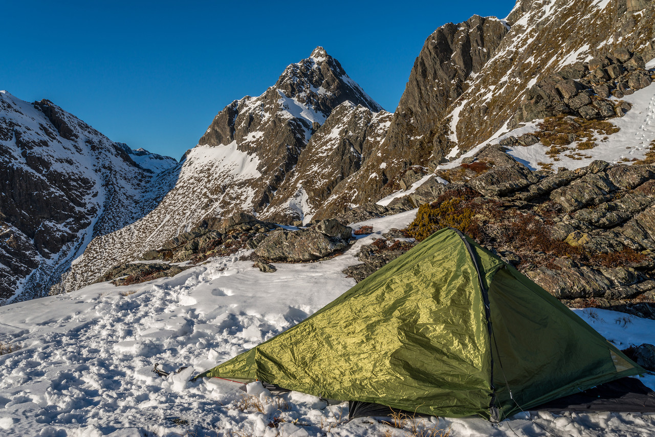 Campsite on the north-east ridge of F-Knob. Emily Peak in the background