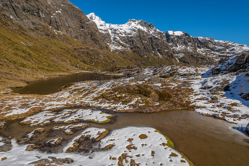 Tarns above Routebrun Falls. Ocean Peak above