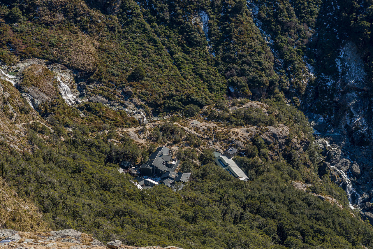 Routeburn Falls and hut from above