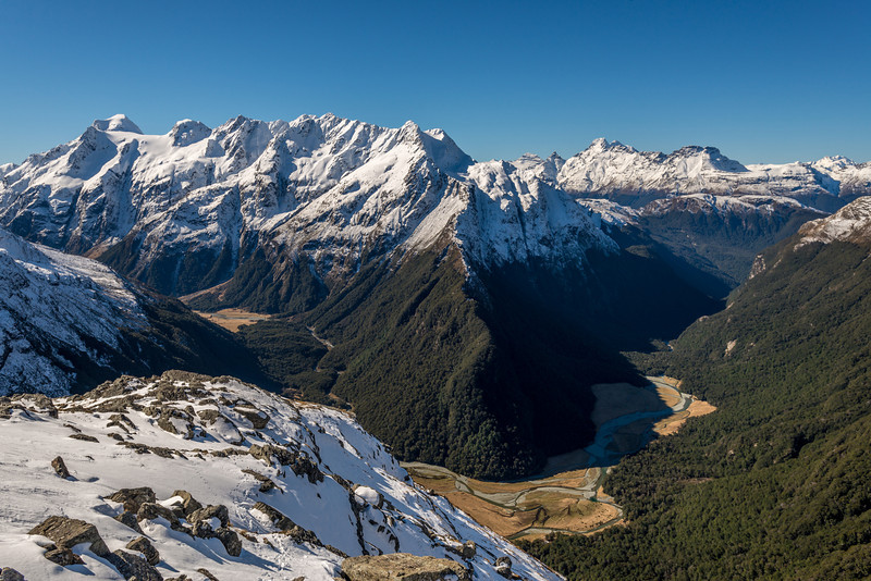 Somnus and Momus (left) and the Forbes Mountains (right) above Routeburn Flats