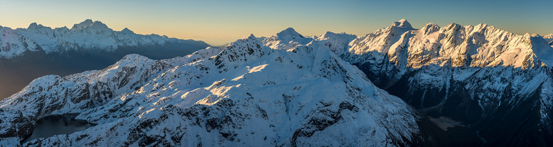 Panorama from F-Knob: The Darran Mountaind and Hollyford River (left); Lake Harris, Mt Xenicus and Mt Erebus (centre); Nereus Peak, Somnus and Momus above the Route Burn North Branch (right)