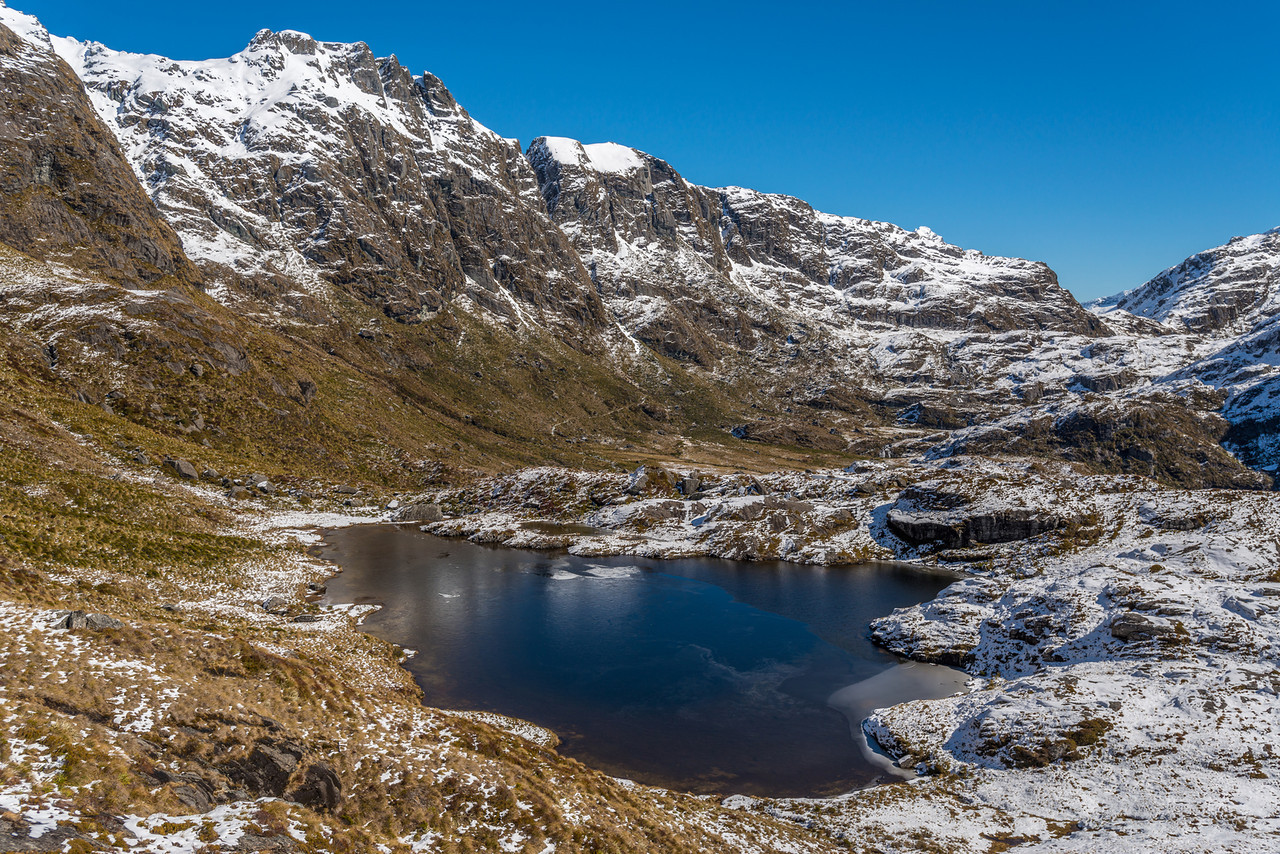 Tarn above Routeburn Falls, and the north ridge of Ocean Peak