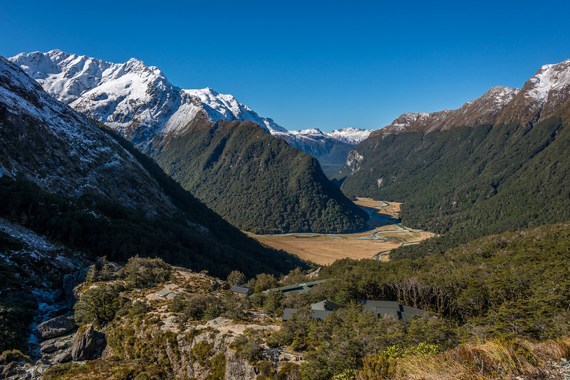 Routeburn Falls Hut. Routeburn Flats below and Momus above