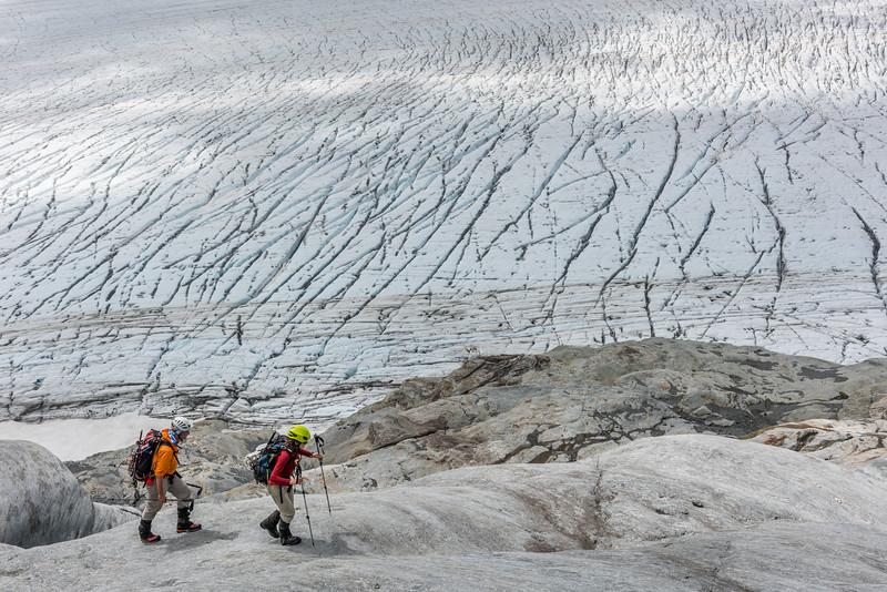 On the lower slopes of Fastness Peak, above the Upper Volta Glacier.