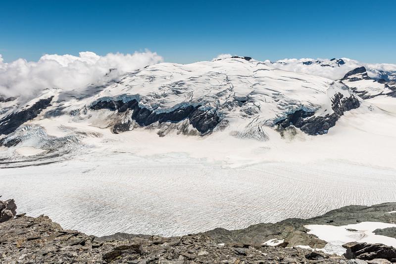 Upper Volta Glacier and Glacier Dome from the slopes of Fastness Peak.