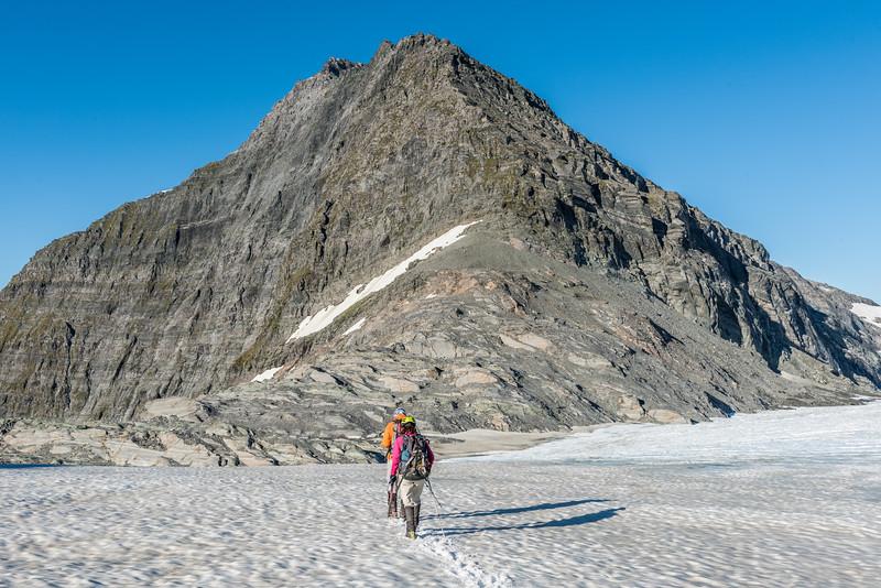 On the Upper Volta Glacier. Fastness Peak above.