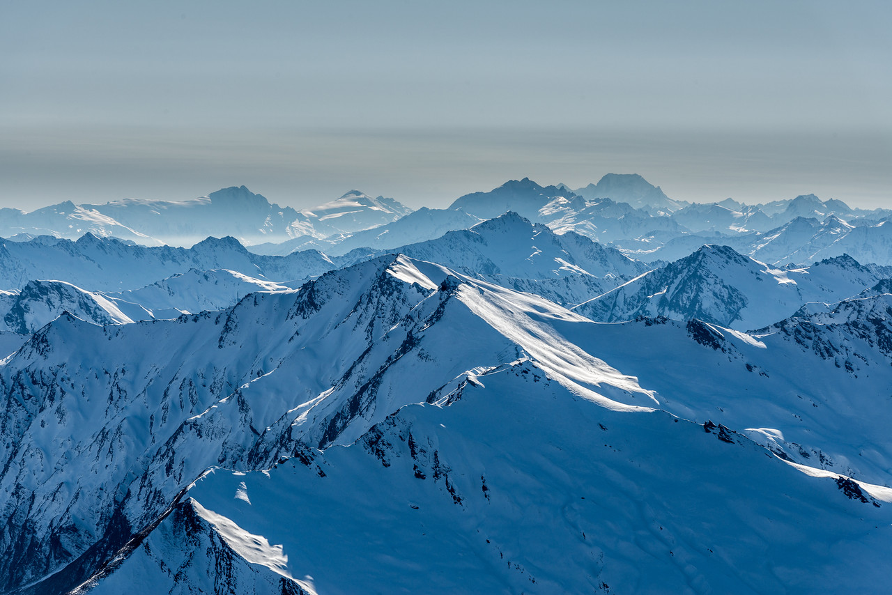View from Fog Peak: Mount Hooker, Mount Dechen, Mount Brewster and Aoraki / Mount Cook