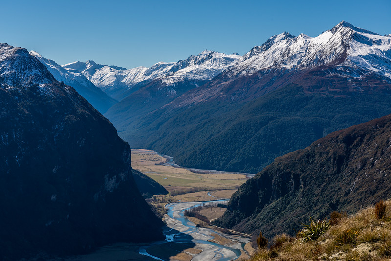 View up the Matukituki River East Branch. Mount Twilight is on the left; Dragonfly Peak and Mount Eostre are on the right