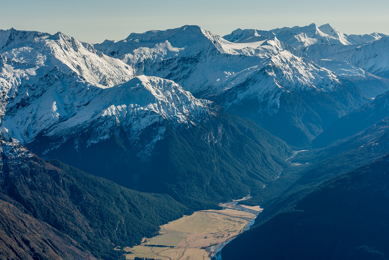 View up the Matukituki River East Branch from the summit of Fog Peak. The most prominent peaks on the skyline are Fastness Peak, Mount Pollux, Mount Castor