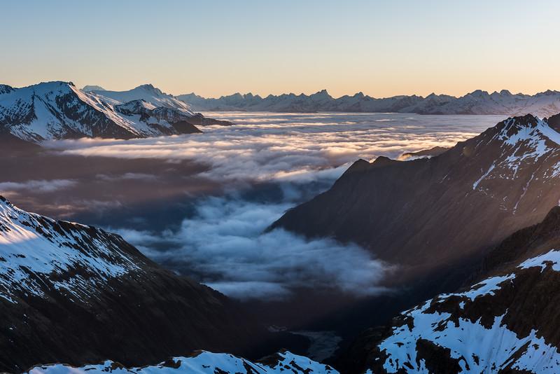 View east from the West Peak of Mount Campbell. The most prominent peaks on the skyline are Mount MacFarlane, Aoraki/Mount Cook, Mount Hooker, Mount Burns, Mount McKerrow, Mount Hopkins, Mount Ward, Mount Jackson, Mount Trent, Mount Strauchon.