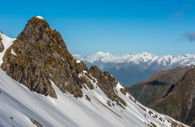 Mount Maitland, Mount Pearson, Shingle Top behind the east ridge of MacPherson Knob