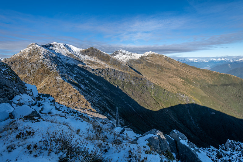 Pt 1643m, Haast range, and Mount Duncan from Mount Heveldt. Arawhata River headwaters back right.