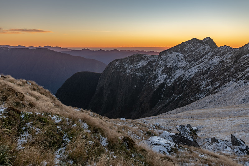 Steep bluffs precipitate from the ridge of Mount Heveldt into Music Creek.