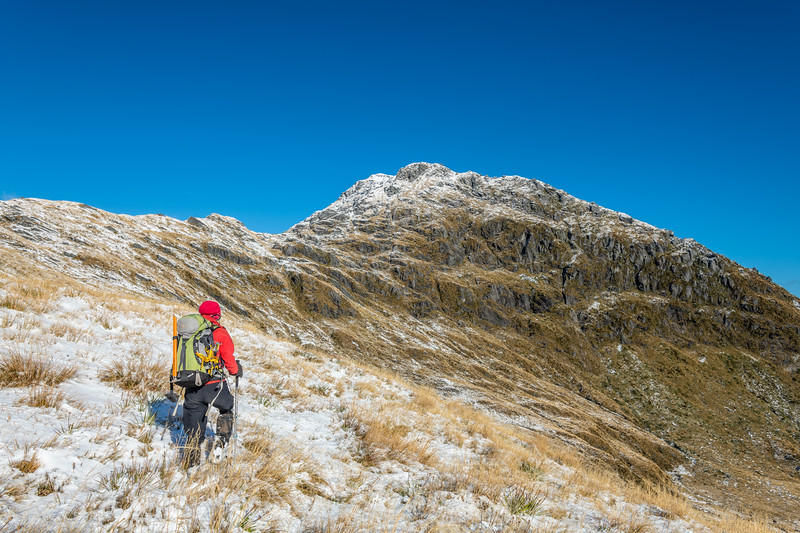Approaching Pt 1643m above Lake Greaney, Haast Range.