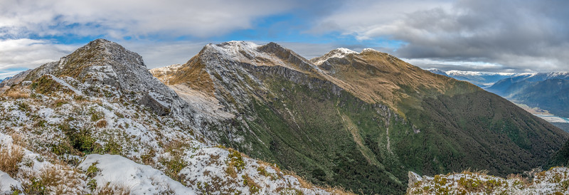 Mt Heveldt, Pt 1643m and Mount Duncan, Haast Range. Arawhata River back right.