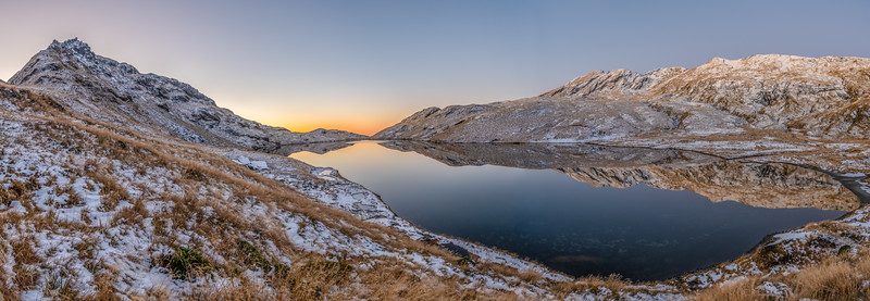 Mount Heveldt and Lake Greaney at sunset. Haast Range.