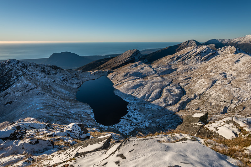 Mt Heveldt, Lake Greaney and Mount Watney from Pt 1643m, Haast Range.