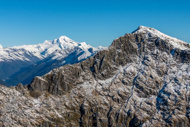 Mount Aspiring and Mount Duncan from Pt 1643m, Haast Range.