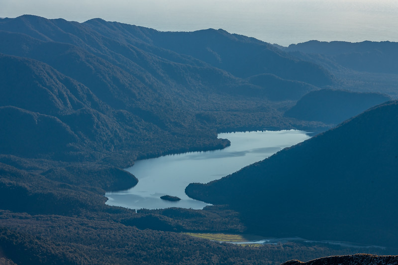 Lake Ellery and Jackson River from Pt 1643m, Haast Range.
