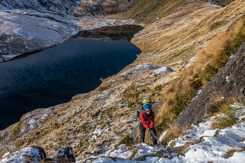 Climbing the north-east ridge of Mount Heveldt. Lake Greaney below.