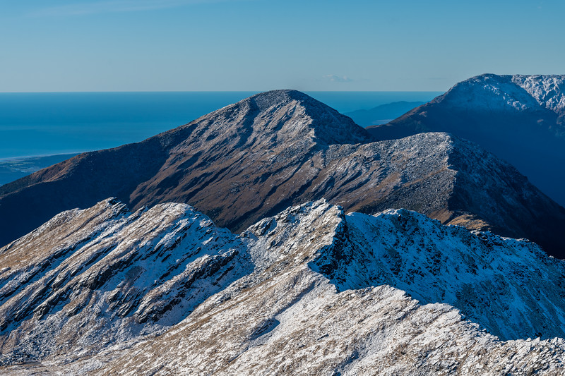 Mt Watney (at centre image) and The Woolsack (back right) from Pt 1643m, Haast Range.