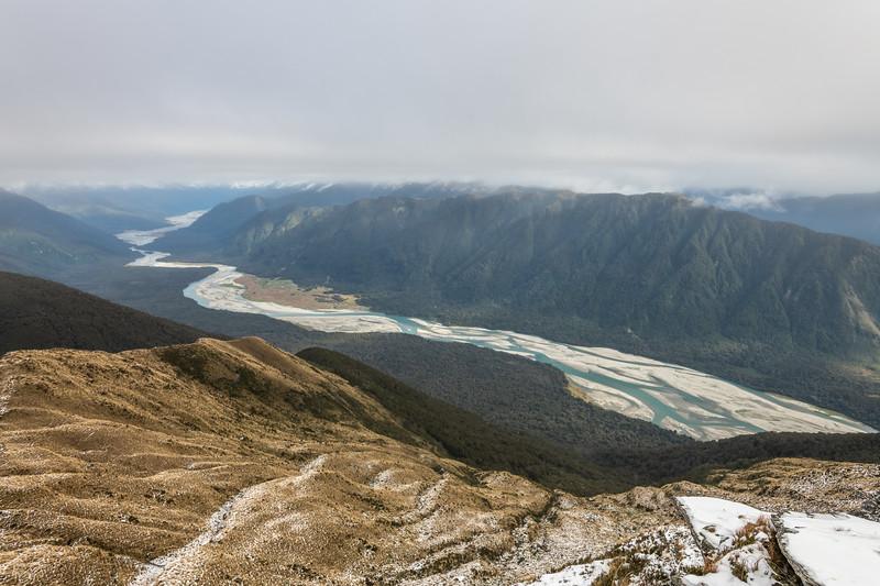 Arawhata River from Mount Heveldt, Haast Range.
