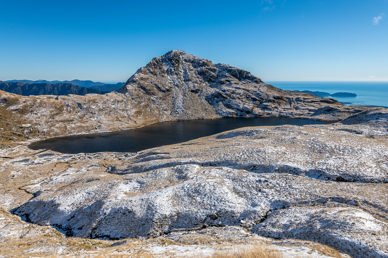 Lake Greaney and Mt Heveldt, Haast Range.