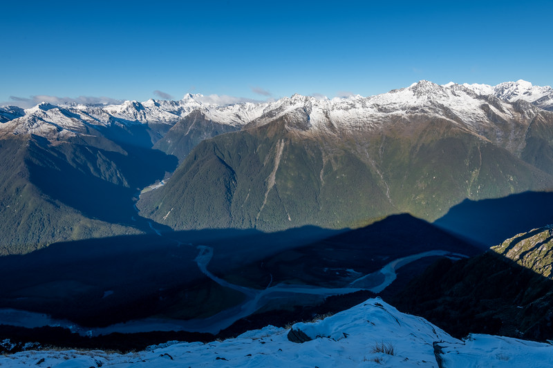 View from Pt 1643m, Haast Range. Waiatoto and Te Naihi Rivers, looking up to Mount Alba. Castor, Pollux and Munro Peak on far right.