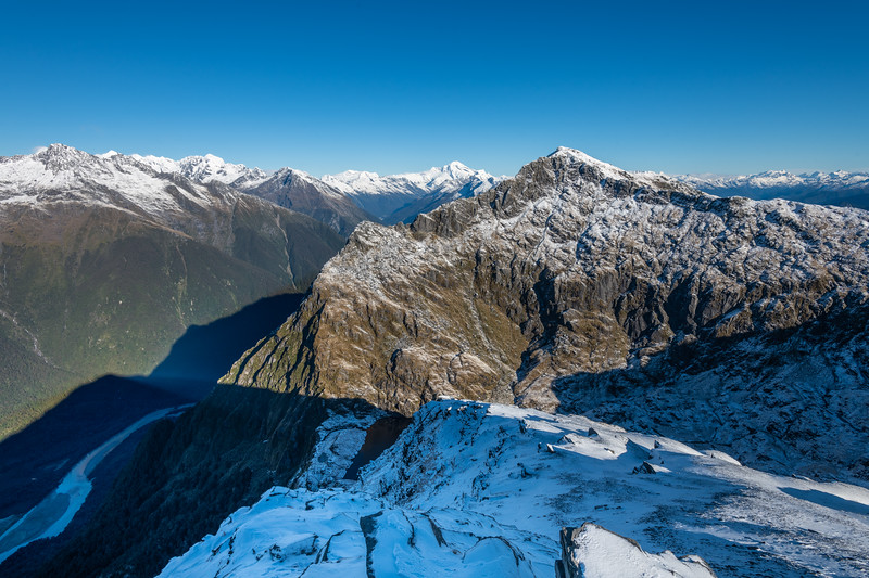 Mount Duncan and Waiatoto River from Pt 1643m, Haast range. Mount Aspiring is at centre image. Castor, Pollux and Munro Peak are on the left, the Olivines on the far right.