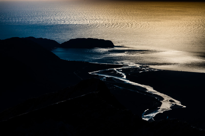 Arawhata River mouth and Jackson Bay from Pt 1643m, Haast Range.
