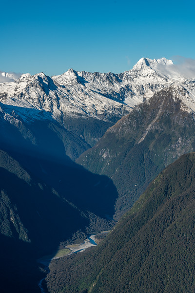 Trident Peak, Mount Alba and Te Naihi River from Pt 1643m, Haast Range.