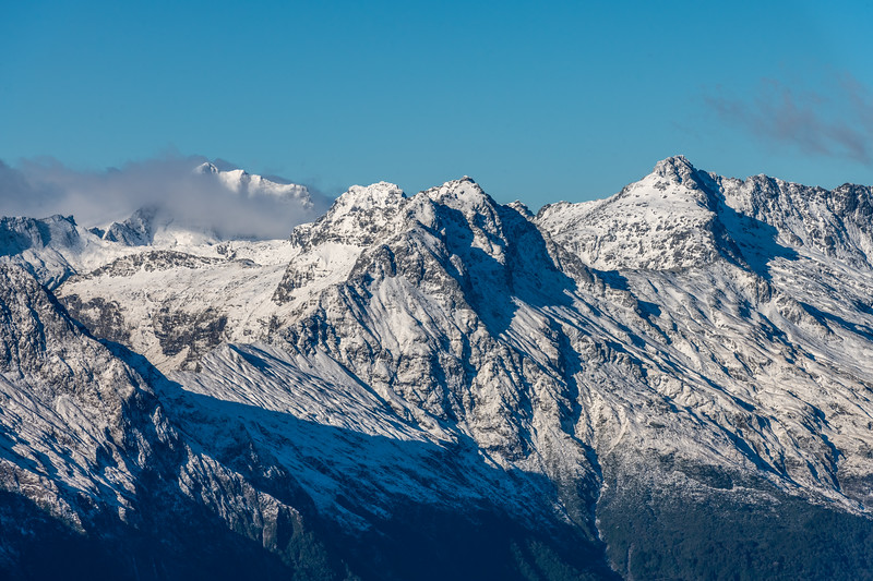 Mount Awful, Mount Dreadful, Mount Dispute, Trident Peak from Pt 1643m, Haast Range.