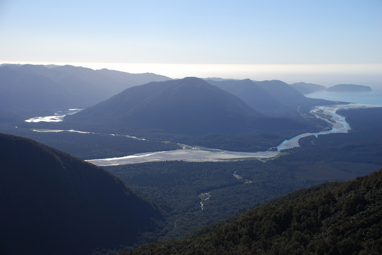 Lake Ellery, Jackson River and Arawhata River mouth. Tunning Fork Creek in the foreground