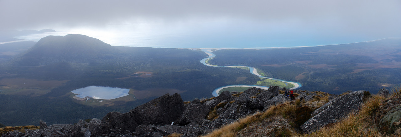 Mt McLean, Lake Nisson and Waiatoto River from the top of Slippery Spur