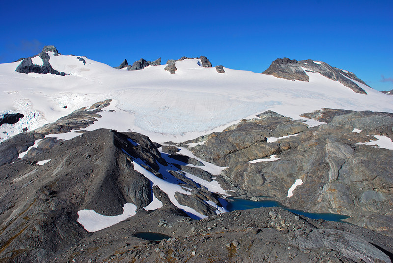 Sarpedon and Park Pass Glacier from the north ridge of Amphion Peak