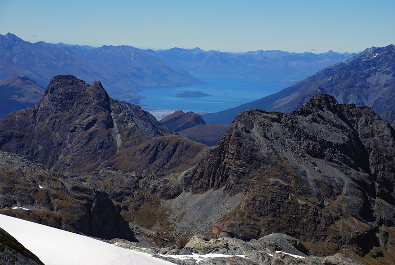 View from the low peak of Poseidon: Mt Nox and Minos Peak frame Lake Wakatipu