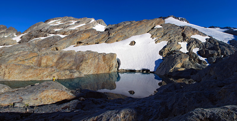 Tarn at the toe of Park Pass Glacier