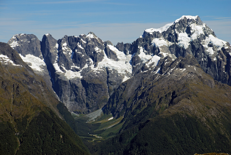 View up Cleft Creek. The Central Darrans above, from Mt Mahere (left) to Mt Tutoko (right)