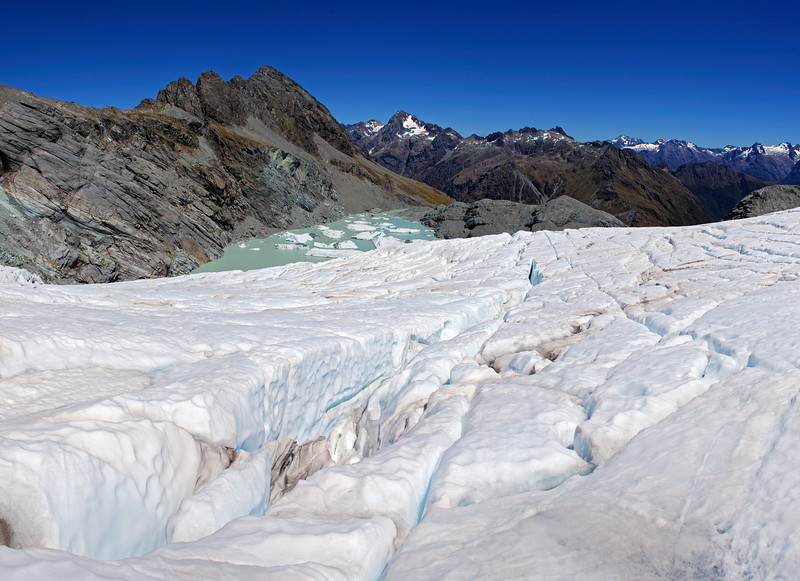 Park Pass Glacier. Amphion Peak above; Somnus, Nereus Peak and the Darran Mountains in the background