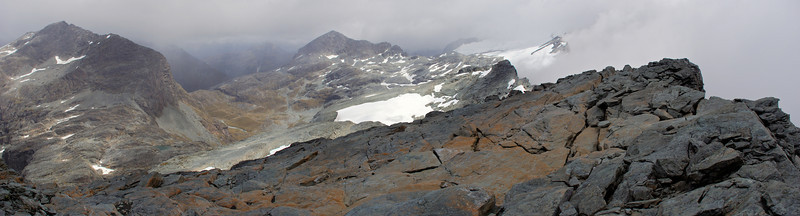 View from the summit of Mount Chaos. Minos Peak to the left, Amphion Peak at centre image and Park Pass glacier to the right.