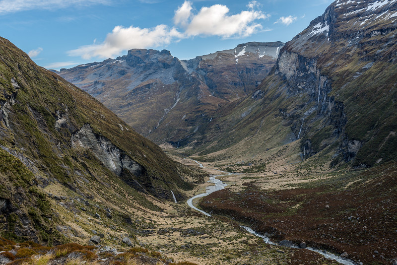 Looking down the Earnslaw Burn from the slopes below Lennox Pass. Turret Ridge is at centre image