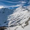 Mount Earnslaw / Pikirakatahi and Black Peak from the ridge north of Lennox Pass.