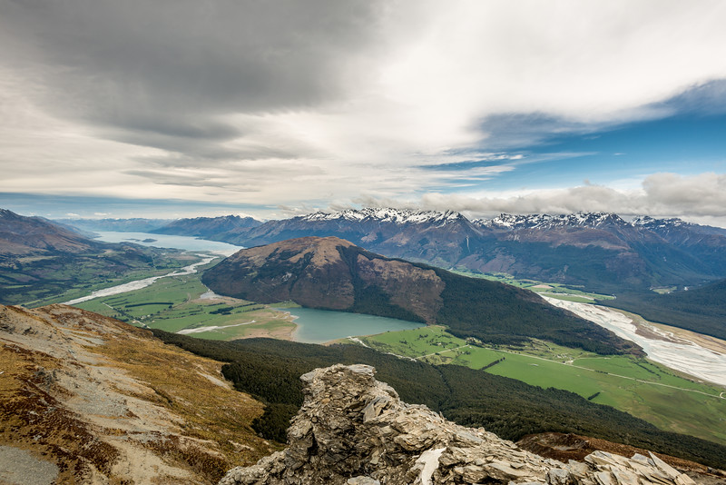 Lake Wakatipu, Mount Alfred and Diamond Lake from Pt 1749m, Turret Ridge. The Rees River flows into the image from the left; the Dart River from the right. Paradise is at the head of Diamond Lake.