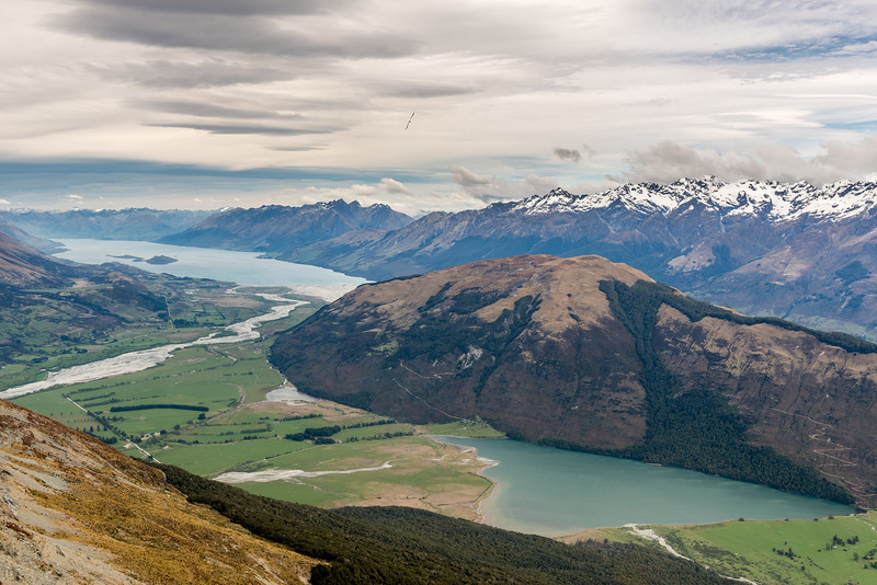 Lake Wakatipu, Mount Alfred and Diamond Lake from Pt 1749m, Turret Ridge. Tooth Peak and Mount Bonpland are on the skyline