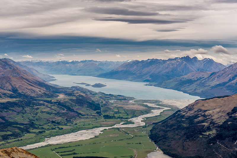 View from Pt 1749m, Turret Ridge: Rees River and Lake Wakatipu. Tooth Peak is on the right.