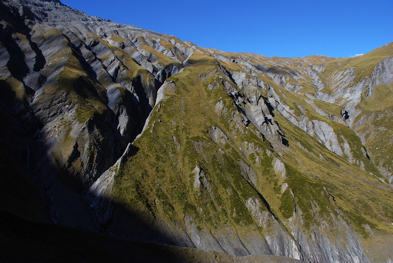 The slopes below Little Lochnagar, heavily dissected by ravines. The spur at centre image provides the only descent route into Glencairn Creek from the north.