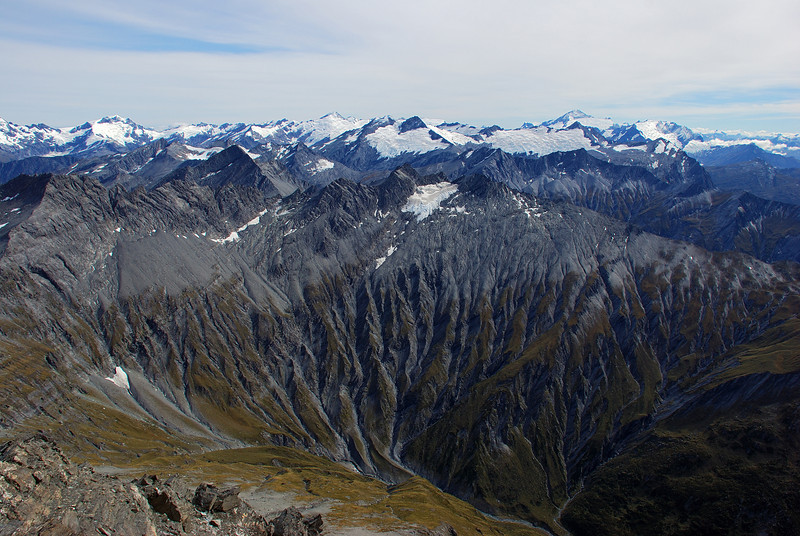Looking into Glencairn Creek from the West Centaur Peak. Mt Lydia, Mt Edward and Mt Aspiring dominate the horizon.