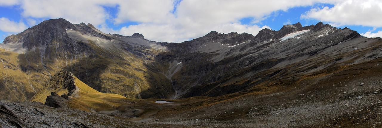 At the head of Glencairn Creek. The Centaur Peaks on the left, Little Lochnagar right