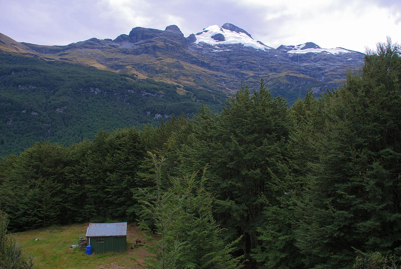 Twenty Five Mile Hut and the east peak of Mount Earnslaw