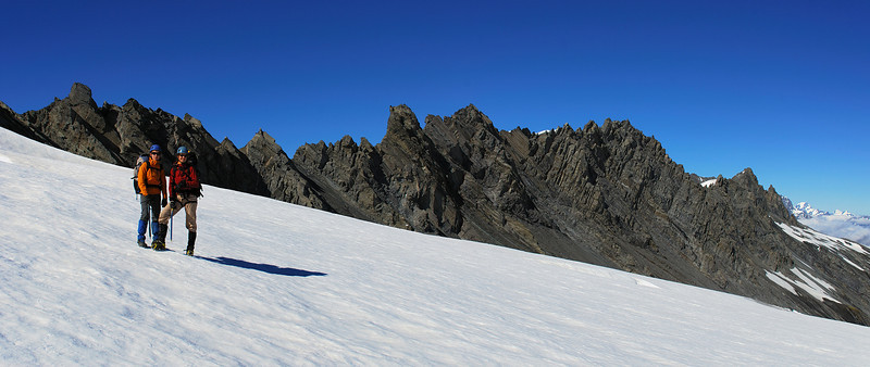 On the Isobel Glacier, after crossing the west ridge of Mt Tyndall (behind)